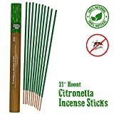 "Hoont Citronella Incense Sticks – Long Lasting 21"" Natural Mosquito Repellent – Highly Concentrated Formula and Extremely Effective (Pack of 12)"