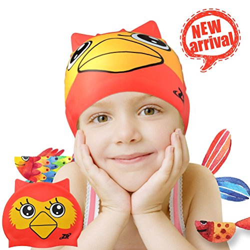 Zionor Swim Caps, Silicone Swimming Caps for Youth Kids with Cute Animal Cartoon Elastic Designed Non-Toxic, Allergy-Free Waterproof, Eco-Friendly for Boys Girls 3-12 Years - Covers Swim Cap That Ears