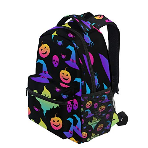 KUDOUXIA School Backpack Abstract Rainbow Happy Halloween Background 1st Grade Lightweight Bookbag Daypack Fits Small Laptop for Kids Teens Travel Bag with 2 Side Pouchs Adorable 16