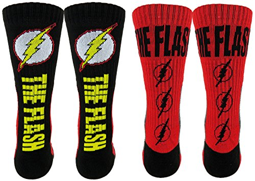 Flash Athletic Crew Socks 2 Pair Pack  One Size  Red Black Yellow