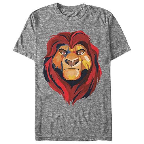 Lion King Men's Geometric Mufasa Portrait Athletic Heather T-Shirt