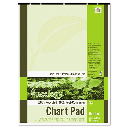 Pacon Chart Pad, Recycled, 24''x32'', 70shts, White