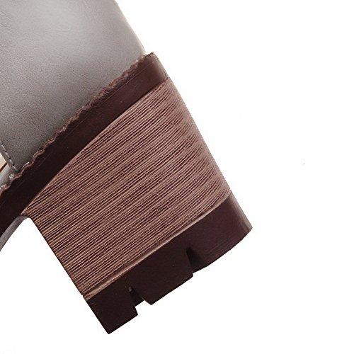 Talon Ouverture Gris Sandales Unie Boucle Couleur à Correct d'orteil Femme VogueZone009 q0wIZ7x