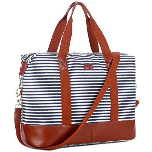 BAOSHA HB-28 Ladies Women Canvas Travel Weekender Overnight Carry-on Shoulder Duffel Tote Bag With PU Leather Strap (Leather Large Blue) by Baosha