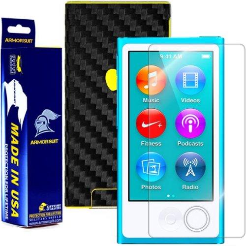 Ipod Carbon Fiber Skin - ArmorSuit Apple iPod Nano 7th Generation Screen Protector MilitaryShield + Black Carbon Fiber Skin Wrap Back Film Protector For iPod Nano 7th Generation