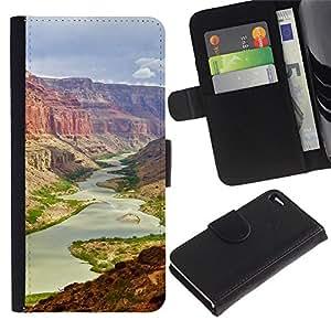NEECELL GIFT forCITY // Billetera de cuero Caso Cubierta de protección Carcasa / Leather Wallet Case for Apple Iphone 4 / 4S // gran Cañón