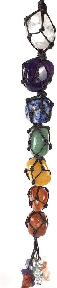 DIYARTS Cristales Piedras Preciosas Chakra Natural Borla Adorno Colgante Tejido Colorido Irregular Adornos Decorativos para Coche, Hogar