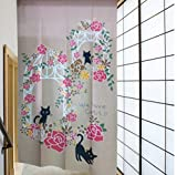Japanese Noren Romantic Rose Decoration Archway Door and Lucky Black Cat Pattern Door Curtain Children Room Curtain