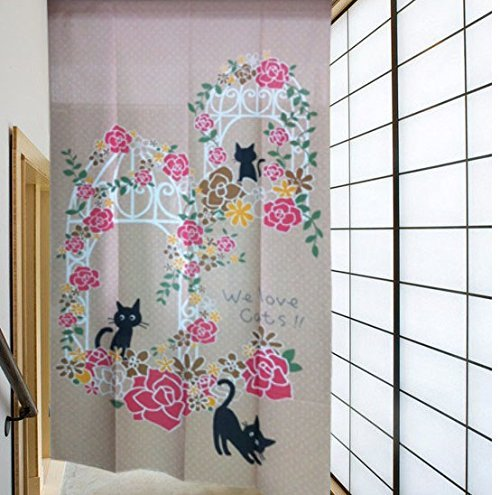 Japanese Noren Romantic Rose Decoration Archway Door and Lucky Black Cat Pattern Door Curtain Children Room Curtain by Bingo E-Commerce