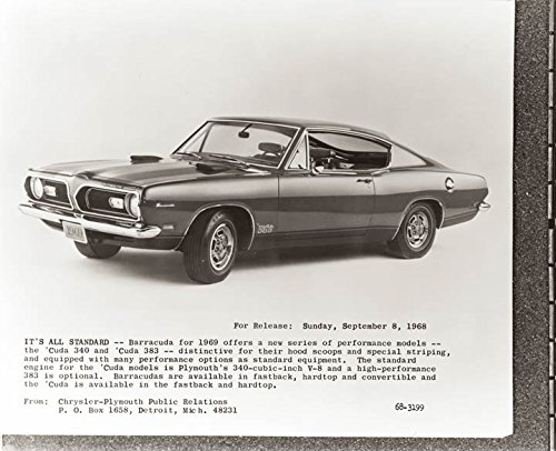 1969 Plymouth Barracuda 383 Fastback Factory Photo