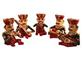 JGARTS WOODEN SMALL MUSICIANS - SET OF 5 HOME DECOR SCULPTURE FIGURINE GIFTS FROM INDIA