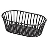 G.E.T. Enterprises Black 8.5'' x 5.5'' Stackable Tuscan-Style Oblong Wire Basket Iron Powder Coated Wire Baskets Collection 4-31892 (Pack of 1)