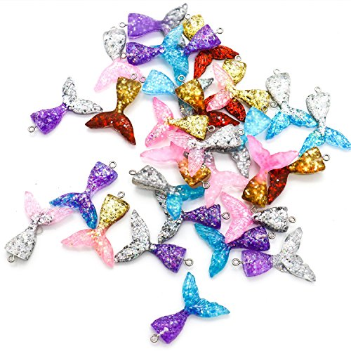 Jewelry Resin Charm (HUELE 30 PCS 6 Colors Resin Mermaid Tail Charms For Earring Necklace Making)