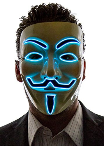 The Purge Smile Mask (Neon Nightlife Men's Light Up V for Vendetta, Guy Fawkes Mask, One Size,)