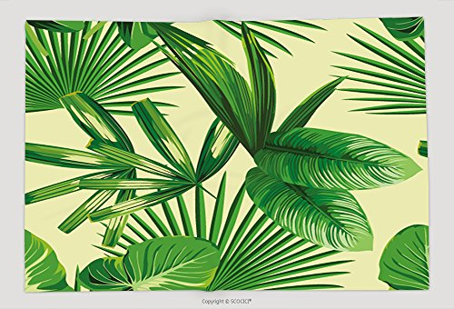 Supersoft Fleece Throw Blanket Tropic Print Summer Exotic Jungle Plant Tropical Palm Leaf And Branch. Pattern, Seamless Floral Vector On Yellow Green Background. Nature Flower Wallpaper