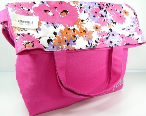 (Aero Aeropostale XL Purse Bag Flower School Book Tote Fold Over Pink)