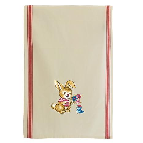 Vestido de conejo rojo Jersey flores pájaro sombrero Retro rayas Retro toalla de cocina