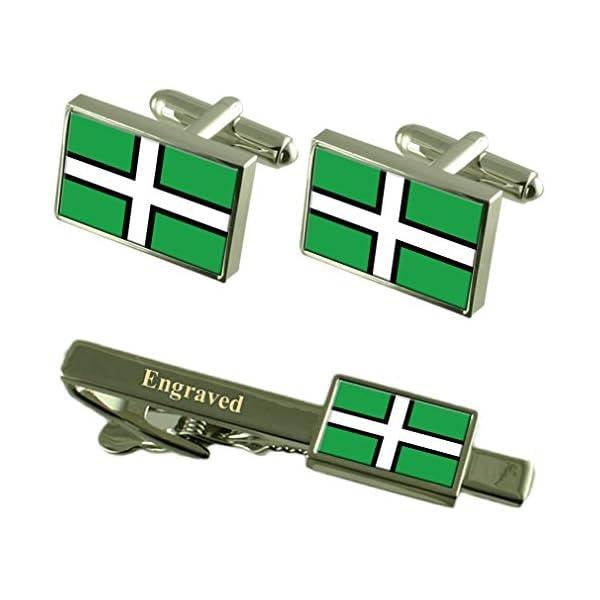 Devon-County-England-Flag-Cufflinks-Engraved-Tie-Clip-Set