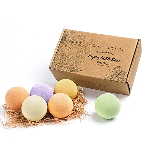 Bath Bombs Gift Set - 6 Lager x 4 Oz GAEA MIRACLE Spa Bomb Fizzies-Handmade with Natural Ingredient, USA Perfume and Essential Oil-Soothe Dry Skin Relaxation-Best Gift for Women, Men, Mom and Her/Him