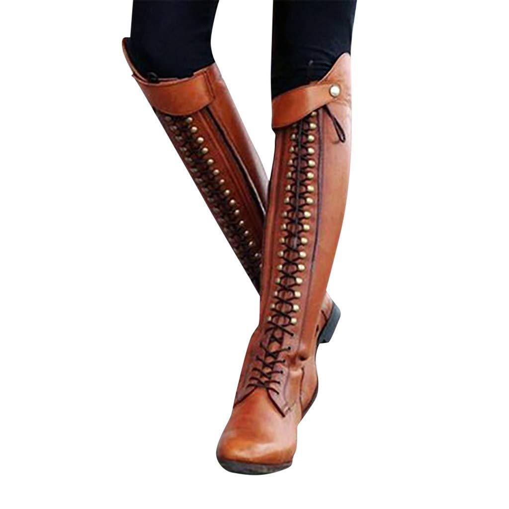 Women's Fashion Over The Knee Heel Combat Boots Western Lace-Up Stacked Heel Riding Boot Dress High Heel Shoes (US:11.5(43), Brown) by Dasuy
