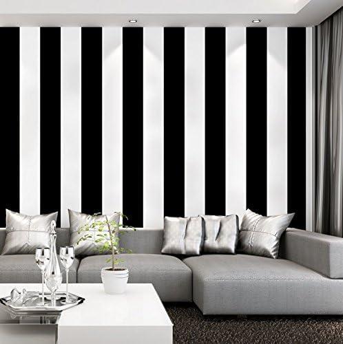 10M Poowef Wallpaper Papier Peint /À Rayures Noir Et Blanc Simplicit/é Moderne Salon Chambre /À Coucher Coffee Shop Magasin De V/êtements Plat Fond Papier Peint 0.53