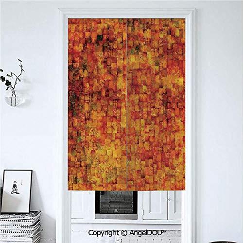 (AngelDOU Burnt Orange Door Curtains Home Decor Modern Valances Vintage Mosaic Background Quadratic Little Geometric Squares Faded Print Decorative Room Divider for Bedroom Kitchen. 39.3x59 inches)