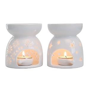 T4U Ceramic Tealight Candle Holder Oil Burner, Essential Oil Incense Aroma Diffuser Furnace Home Decoration Romantic White Set of 2