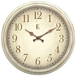 Geneva Clock Antique White Plastic Wall Clock, 16-Inch
