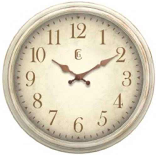 Geneva Clock Antique White Plastic Wall Clock, 16-Inch (Clock Antique Wall Parts)