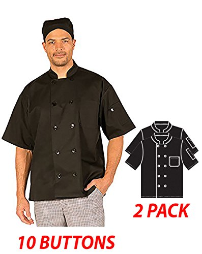 Hilite Uniform Item: 530BK-M,10 Buttons Classic Chef Coat, Short Sleeve - 2 Pack, Black by Hilite Uniform