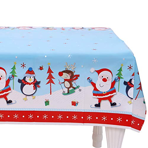 VALORCASA Christmas Tablecloth Rectangle Centerpiece Plastic Disposable Party Decoration Table Cover Holiday Table Cloth,47 70