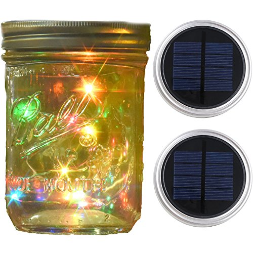 Mason Jar Lights Wide Mouth,Outdoor Solar Powered Lights Sliver Lid Multi-Colored Solar Fairy Light String Light Flashing Light,2 Pack 10 LED Party Wedding Christmas Garden Home Patio Path Tree Decor