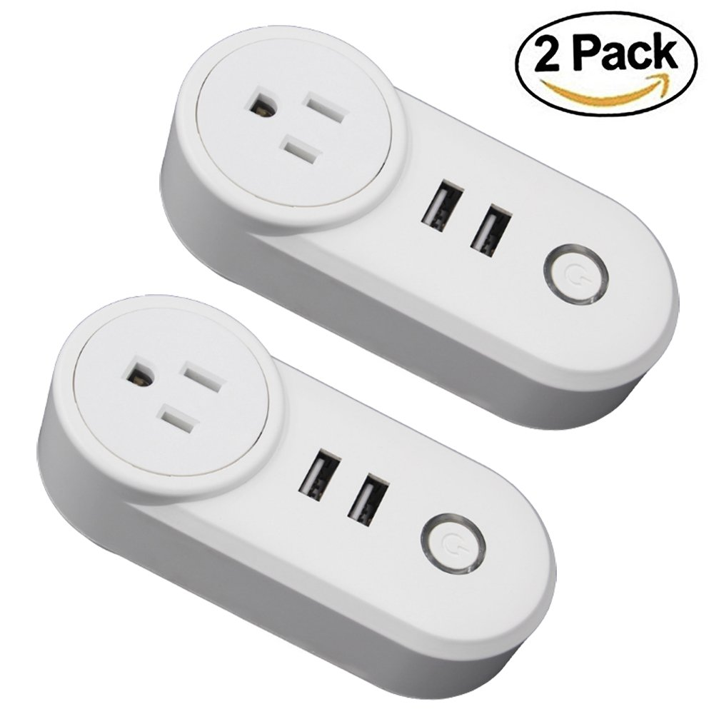 WiFi Smart Plug Wireless Mini Outlets Smart Socket with Dual 2.1A USB Port No Hub Required Control Your Electric Devices from Anywhere Compatible with Alexa and Google Assistant 2-Pack GRT