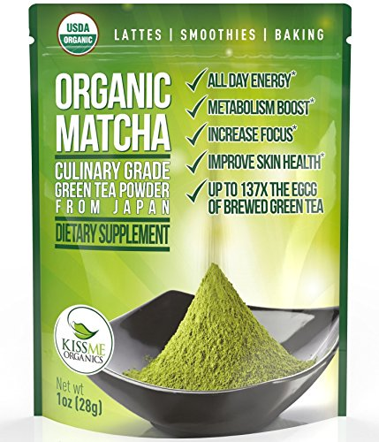 Matcha Green Tea Powder - Powerful Antioxidant Japanese Organic Culinary Grade Matcha - 1 oz (28 grams) - Increases Energy and Focus - Naturally Supports Weight Loss Goals and Healthy Metabolism