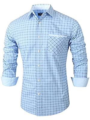 Emiqude Mens Casual Slim Fit Long Sleeve Pocket Stripe Constrast Plaid Dress Shirt