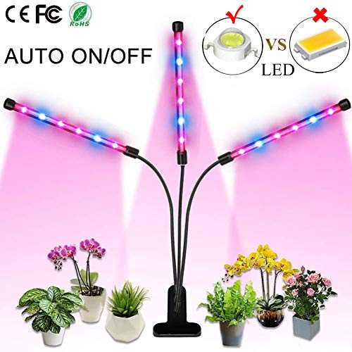 Grow Light, 36W LED Grow Lamp for Indoor Plants, Auto ON/Off Timer, Full Spectrum Triple Head Gooseneck Plant Lights, 4/8/12H Timing 8 Dimmable Levels for House Garden Hydroponics Succulent Growing ()