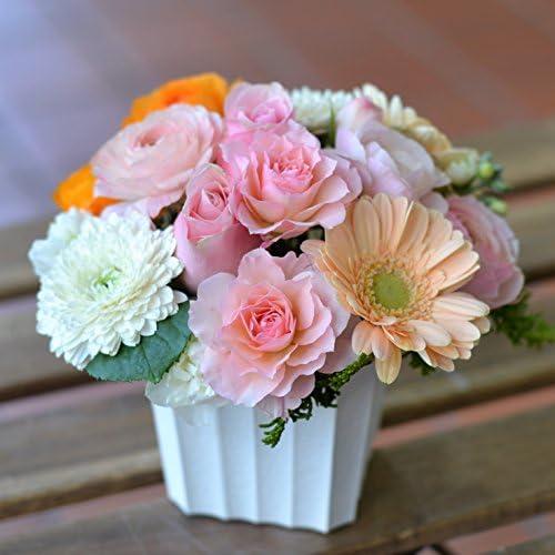 HANALABO 可愛いサイズ 人気の色合いピンク・オレンジ系のミックスカラーでプレゼント!可愛くて癒されるアレンジメント お祝 記念日 お誕生日 結婚記念日 開店祝 発表会