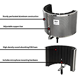LyxPro VRI-20 Portable Acoustic Isolation Microphone Shield, Sound Absorbing, Vocal Recording Panel, High Performance - Stand Mount