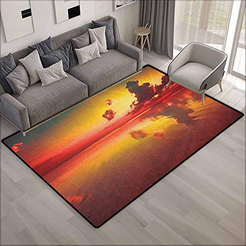 Collection Area Rug,Americana Sunrise Over Sea Water Reflection Cloudy Horizon Morning View,Children Crawling Bedroom Rug,4'7