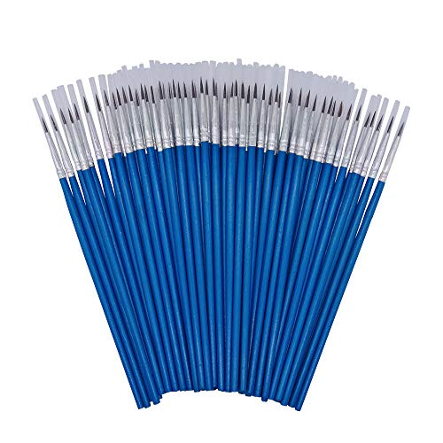 ([60 Pack]Pointed Round Painting Brush,Hand Made Thread Drawing Brush,Detail Paint Brush for Acrylic, Oil and Watercolor)
