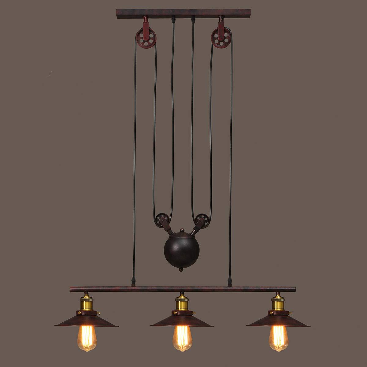 Kingso 3 Light Industrial Vintage Chandeliers Pulley Pendant Light