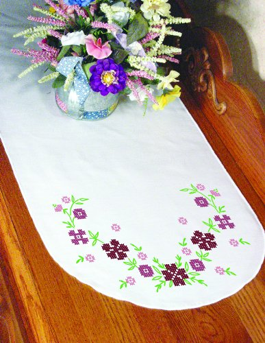 (Fairway Needlecraft 18289 Dresser Scarf, Cross Stitch Flower Design, White, Perle)