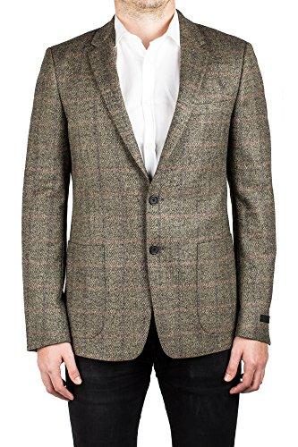 Prada Men's Notched Lapel Virgin Wool Sport Jacket Coat Blazer Plaid Stone Grey (Prada Stone)