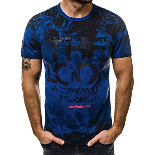 Men's Letter Printed T Shirt Fashion top Casual Slim Short Sleeve Blouse Outdoor t -