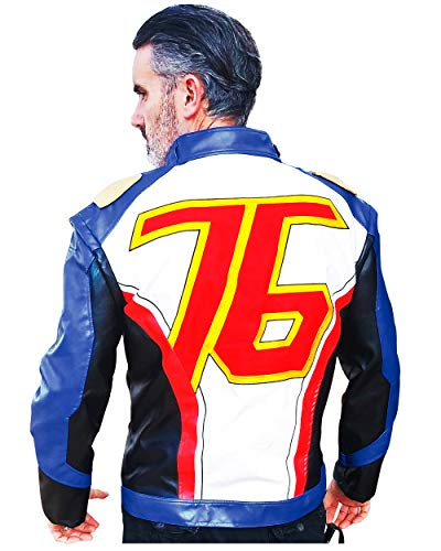DAZCOS US Size PU Leather Soldier 76 Cosplay Jacket/Gloves (Men Small, Only Jacket)]()