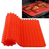 """New Silicone Baking Mat Sheet Non-slip Pyramid Square Design,Healthy Cooking Mat Professional Heat-Resistant & Fat-reducing 11"""" x 15.5"""""""