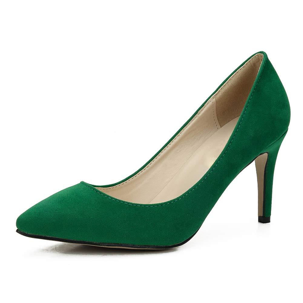fereshte Women's Classic Pointy Toe Stiletto High Heel Wedding Dress Pumps Shoes Green EU41