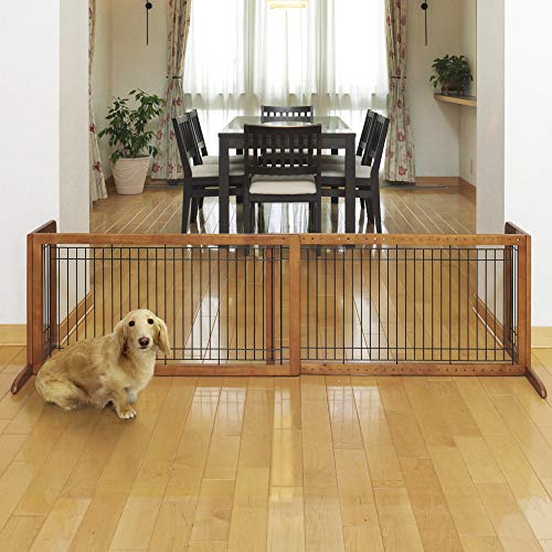 Richell Wood Freestanding Pet Gate, Large