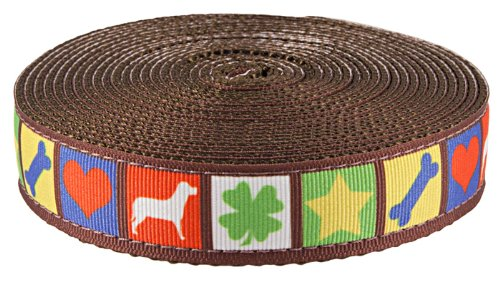 Country Brook Design 3/4 Inch Dog Blocks Ribbon on Brown Webbing, 10 Yards