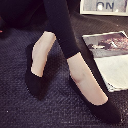 Transer Ladies Leisure Flats Shoes, Women Slip-on Work Loafers,Comfortable Ballerina Lazy Shoes Black